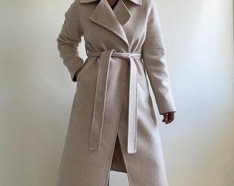 beige wool belted autumn coat