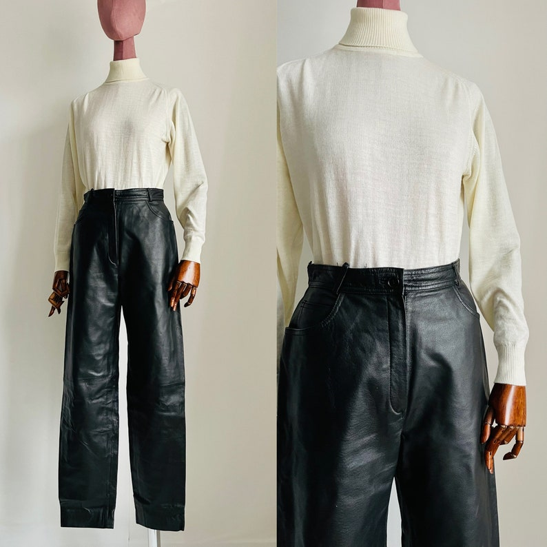 vintage real leather black high waisted pants