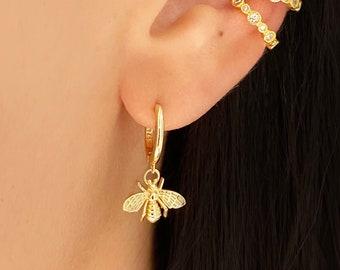 Bees drop dangle cz charm hoops, Minimalist hoops, Delicate hoops, Dainty hoops, Minimalist jewelry , Gold hoops , Flower hoops