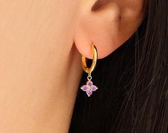 spring flower earrings winnipeg birthday gift for her Dark purple sparkle clay earrings clay hoop earrings purple flower shimmer hoops