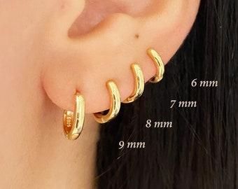 Basic inner 9mm, 8mm, 7mm, 6mm solid hoops, Tiny hoops, Hoop earrings, Dainty hoops, Huggie hoops, Minimalist earrings, Minimal jewelry