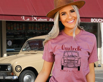 Renault 4 Quatrelle design.Unisex T shirt  in 21 colours. + the choice of 20 print colours. TG2140