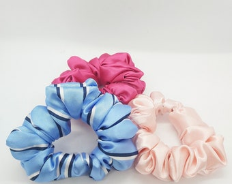 Set of Three Silk Scrunchies - Pink Hair Accessories - Bridal Shower gift - Women Accessories - Gift for Her