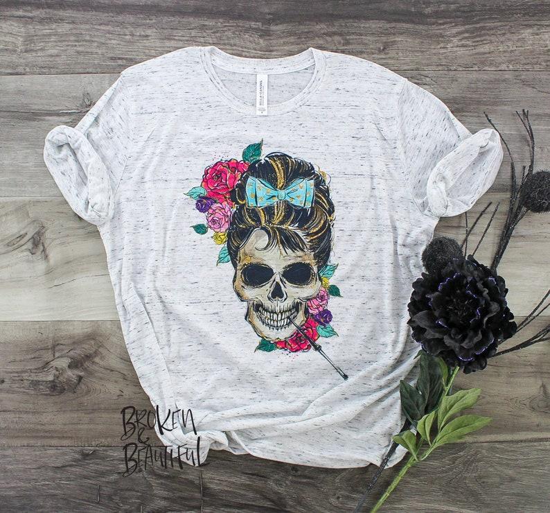 Womens Skull Shirt Grunge Clothing Women Funny Tshirt for image 0