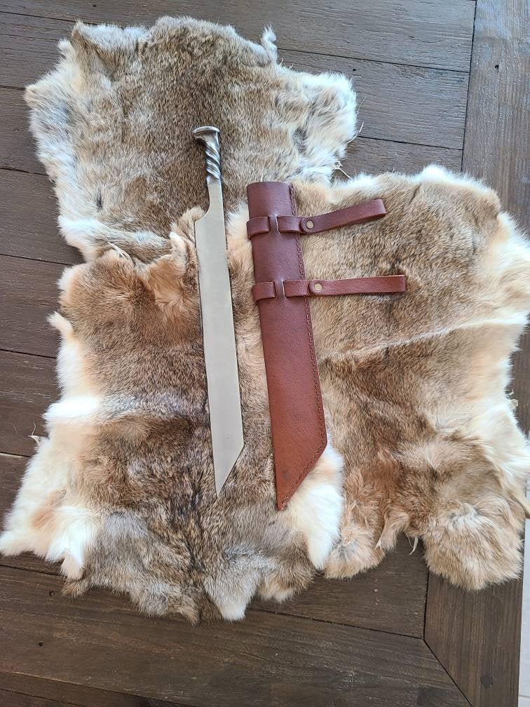 Railroad Spike Style Viking Seax Short Sword, Railroad Spike Knife, Leather Cross Draw Sheath