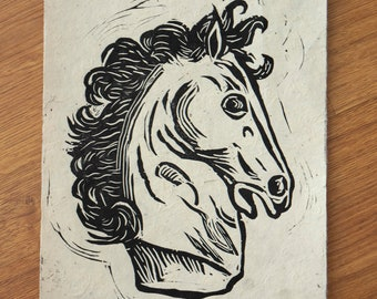 Horse linocut print, horse engraving, antique horse head, print of horse head statue