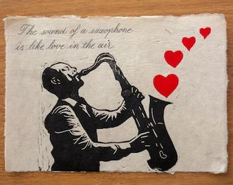 Saxhoponist linocut print, linoprint card of saxophone, gift for saxophonist, wall decor for saxophone