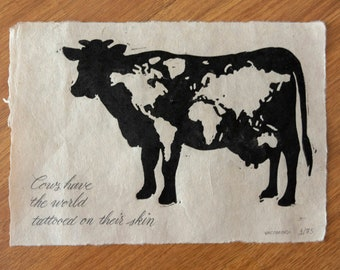 Linoprint of a cow, dairy cattle print, limited edition linocut, Art print collector, numbered and signed prints