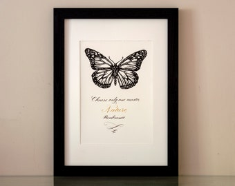 Monarch butterfly linocut, original linoprint limited edition, handwritten print with calligraphy, Rembrandt nature quote,  hand printed