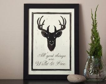 Deer linocut art, Thoureau quotes, original limited edition linoprint, All Good Things Are Wild & Free, linoprint art