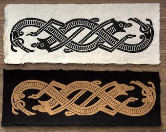 Viking art, Viking Decor, Viking Wall Art, Jelling Style, Ribbon animals