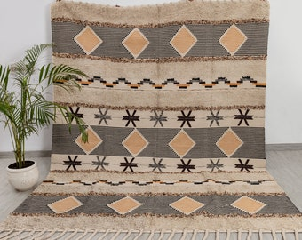 Bohemian Moroccon Inspired Hand Woven Cotton Rug, Customize in Any Size.#MD-28