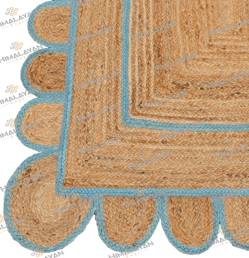 Scallop Jute Blue Hand Made Rug,Bohemian Decor Inspire Customize in Any Size /& Shape-CBS