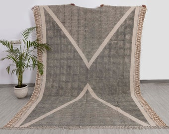 Boho Handwoven Block Printed Flatweave Cotton Rug, Bohemian Nordic Rug. Sizes- 5X8,6X9,8X10,9X12.Durrie-12