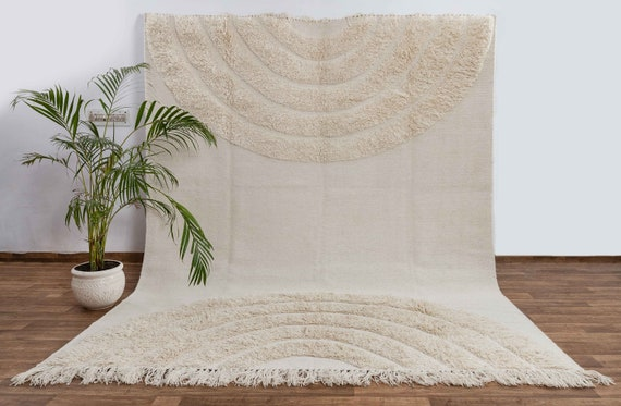 Ivory White Wool Natural Hand Woven Boho Rug, Customize in any size-SS2