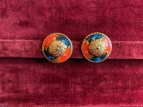 Fun Vintage Colorful Circle Swirl Earrings
