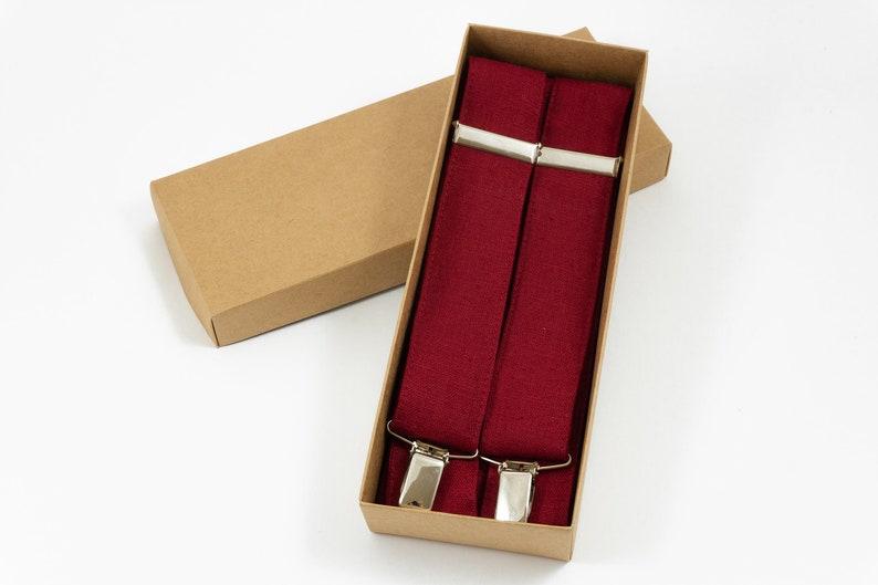 BURGUNDY RED Y-back wedding suspenders for groomsmen and groom Dark red linen braces for men and boys