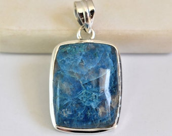 Healing Stone Natural Azurite Pendant Natural Gemstone Pendant Unique Gift Free Shipping Christmas Gift 925 Solid Sterling Silver