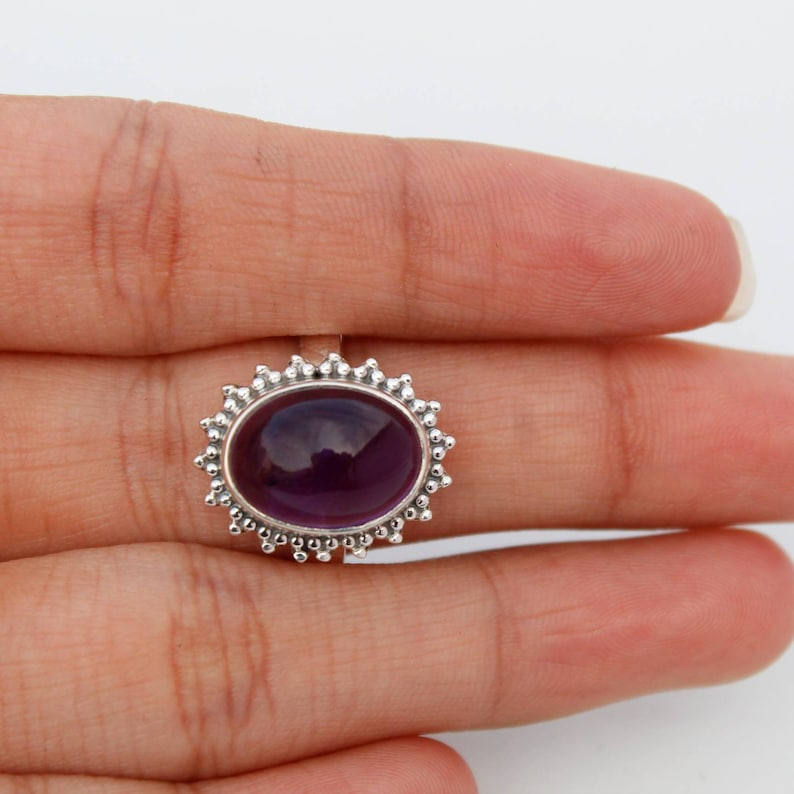 Amethyst Jewelry Amethyst Silver Ring Amethyst Ring 925 Sterling Silver Ring Handmade Ring Oval Amethyst Ring Natural Stone