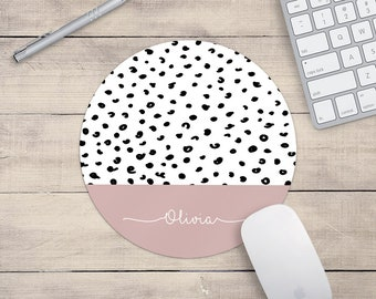 Personalised Dalmatian Print Pink Mouse Mat Rectangle Or Round Mousepad Desk Mouse Pad Office Accessories Mousemat Pattern PC Computer Gift