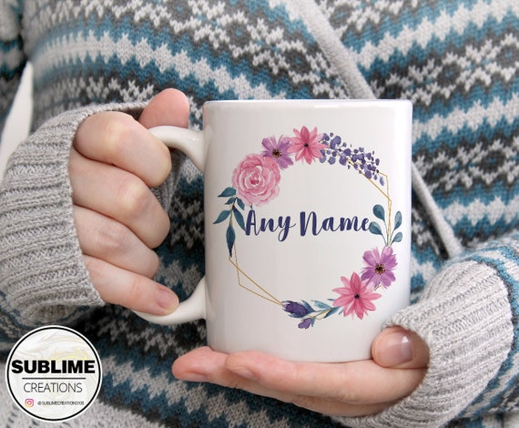 Details about  /Personalised Watercolour Floral Bouquet Mug Custom Name Coffee Tea Hot Chocolate
