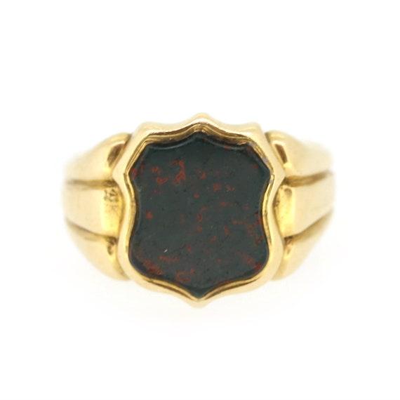Victorian Bloodstone Shield Signet Ring In 18ct Ye