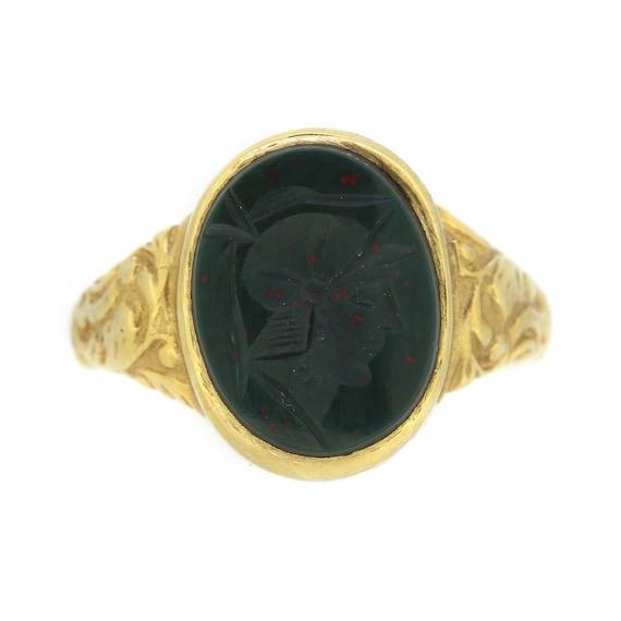 Vintage Roman Centurion Bloodstone Signet Ring In