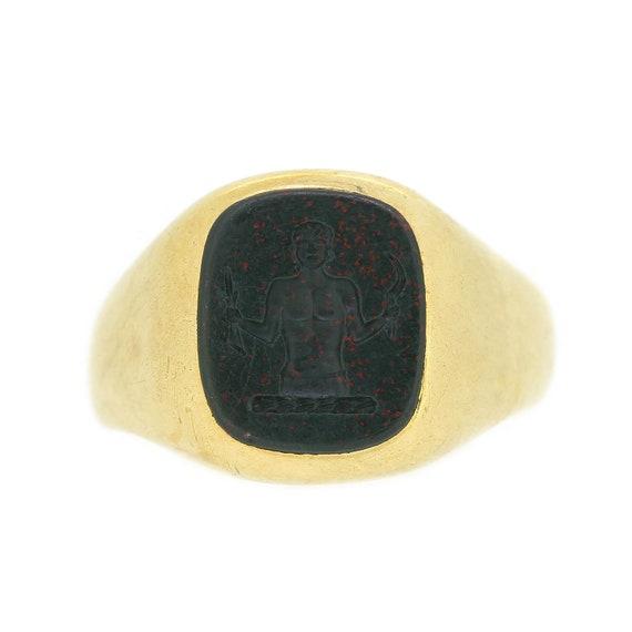 1930's Bloodstone Intaglio Signet Ring In 18ct Yel