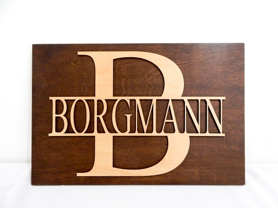 Split Letter Monogram Sign Initial Wall Decor Wall Art Decorations Boss Secretary Gift Personalized Name Wall Hanger Christmas Gift By Woodbott Catch My Party