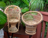 Wicker Rattan Plant Stands Vintage Dolls Chairs Miniature Peacock Chair Plant Stand Wicker Rattan Doll Chairs Plant Stands