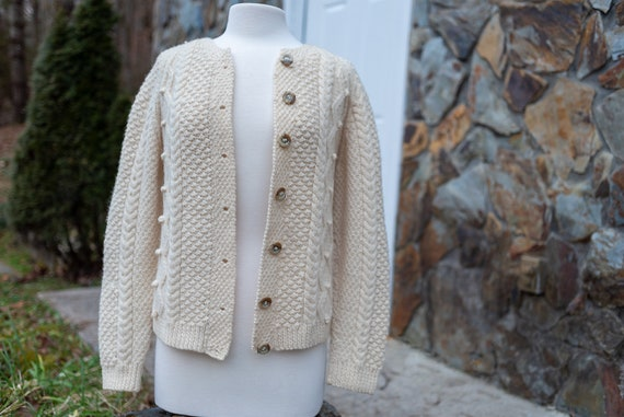 Vintage Wool Fisherman Cardigan Sweater / Woman's
