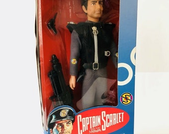 "CAPTAIN SCARLET Captain Black Poseable 12"" Action Figure 1993 UK Vivid Imaginations 1960S Uk Tv Puppet Show Gerry Anderson Thunderbirds"