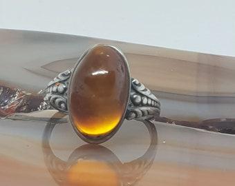 FREE international tracked post New Handmade Orange Amber /& Solid 925 Silver UK Ring Size V