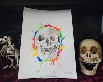 Skull Watercolor Painting