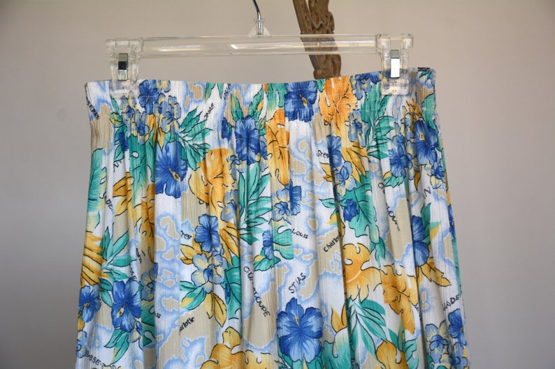 Alfred Dunner Vintage 80s Tropical Island Blue and Yellow Hibiscus Skirt Size SM