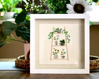 Seaglass Framed Art: Plant Stand with Green Pots