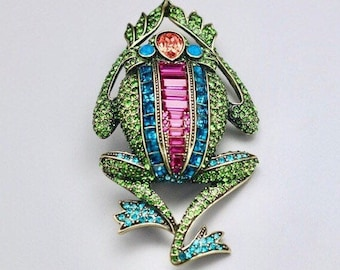 "Heidi Daus ""Leaping Luxury"" Crystal Frog Pin"