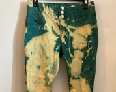Acid Washed Jeans , two tone green pants