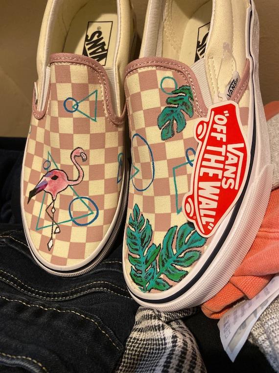 Flamingo Custom Vans Handpainted