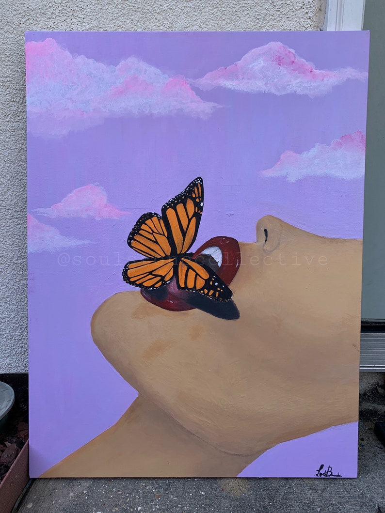 MUTUAL BUTTERFLY Original butterfly woman painting