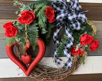 Valentine Wreath-Pink Valentine Wreath-Heart Wreath-Pink Heart Wreath-Valentine Decor-Valentines Day Decor-Valentines Day Gift