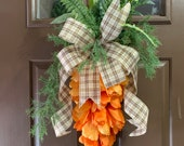 Tulip carrot door hanger, carrot wreath, tulip carrot swag, tulip carrot door hanger, Easter tulip swag, spring decor, Easter decor, tulip