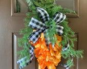 Carrot swag, carrot wreath, Easter carrot wreath, tulip carrot door hanger, carrot tulip swag, spring carrot, Easter wreath, carrot decor