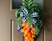 Carrot swag, carrot wreath, Easter carrot wreath, tulip carrot door hanger, carrot tulip swag, spring carrot, Easter wreath, carrot decor