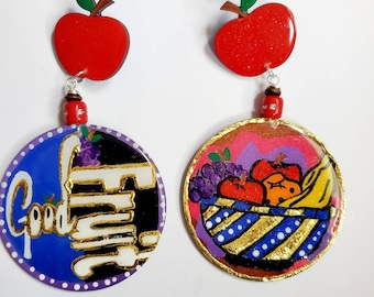 Ahayah/'s Artist Good Fruit Hebrew Earrings Handpained Wooden Earrings And More. Black Owned Shop