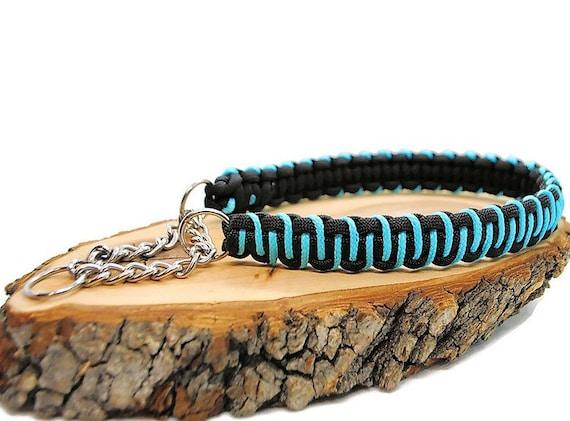 Dog collar Zig Zag Black/Blue - width 2cm - Leash of wouf