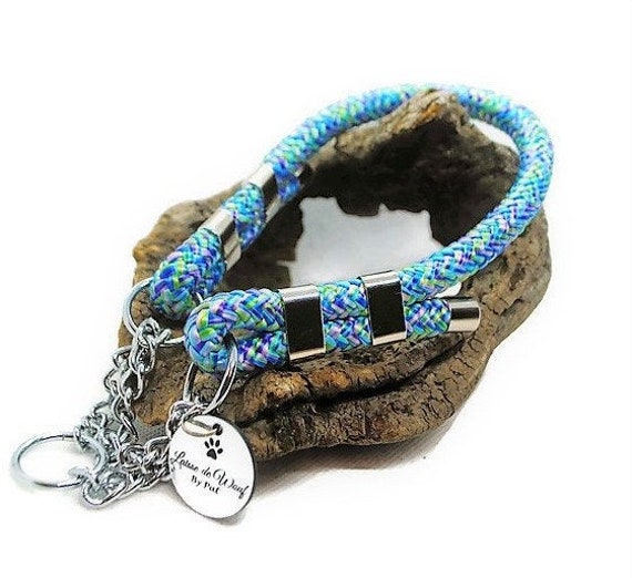 Collar for dog in paracord Blue Mermaid wouf leash or pink Mermaid diameter 10mm