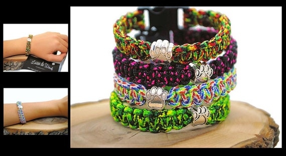 Bracelet in paracord several colors with or without pearl paw