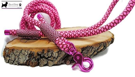Wouf Leash - Pink barley sugar leash in paracord 10mm