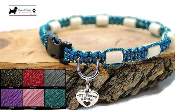 EM ceramic tick collar for natural dog protection - Leash of wouf Collection Metallic Glitter